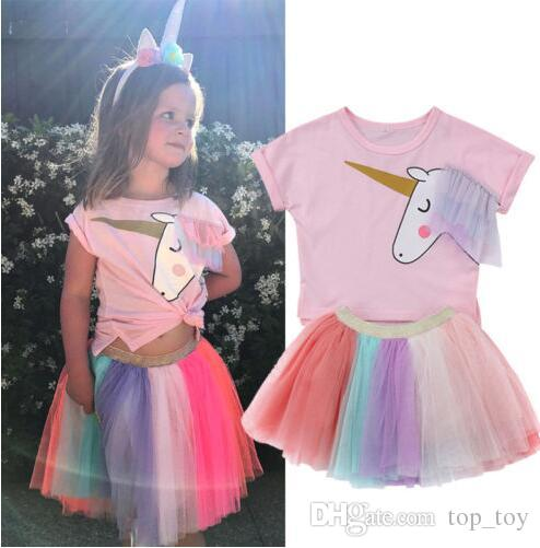 2019 Baby Girls Unicorn Top T Shirt Rainbow Lace Tutu Tulle Skirt