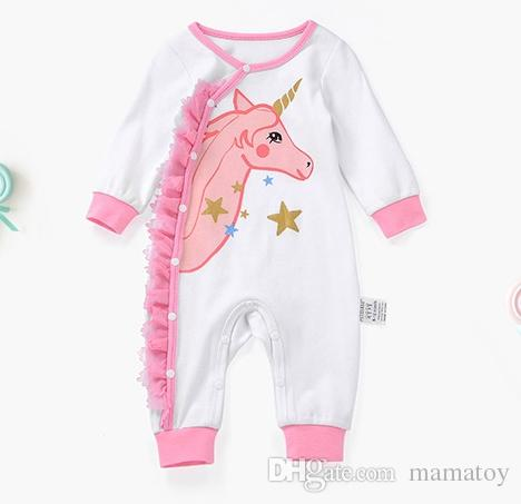 2019 Baby Unicorn Long Sleeve Romper Baby Girls Romper Infant