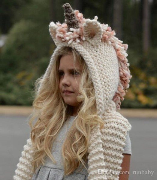 2019 Knitted Unicorn Hats Scarf Tassels Kids Baby Winter Warm Kids