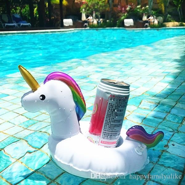 2019 Pvc Inflatable Drink Cup Holder White Unicorn Beverage