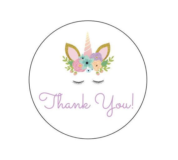 20 Unicorn Thank You Stickers Gold Unicorn Birthday Labels