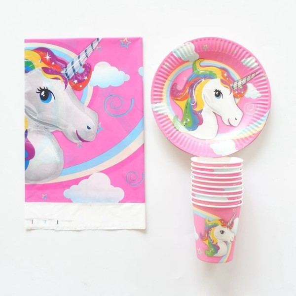 21pcs Lot Unicorn Party Paper Plate Cup Tablecloth Birthday Party