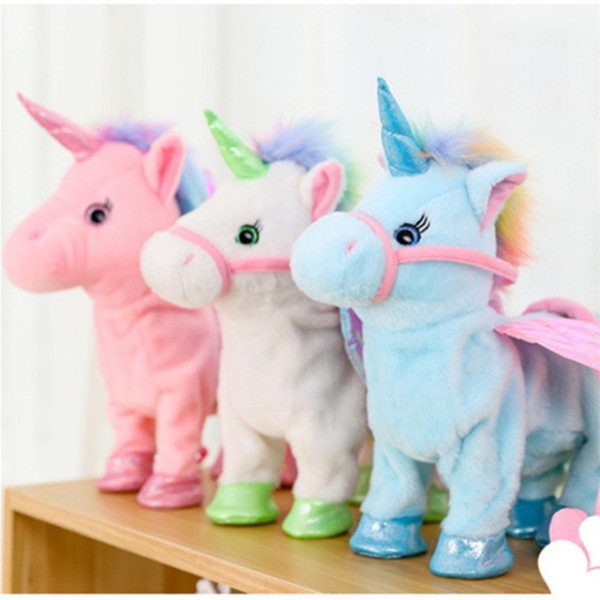 35cm Lovely Electric Walking Unicorn Plush Toy Soft Stuffed Animal