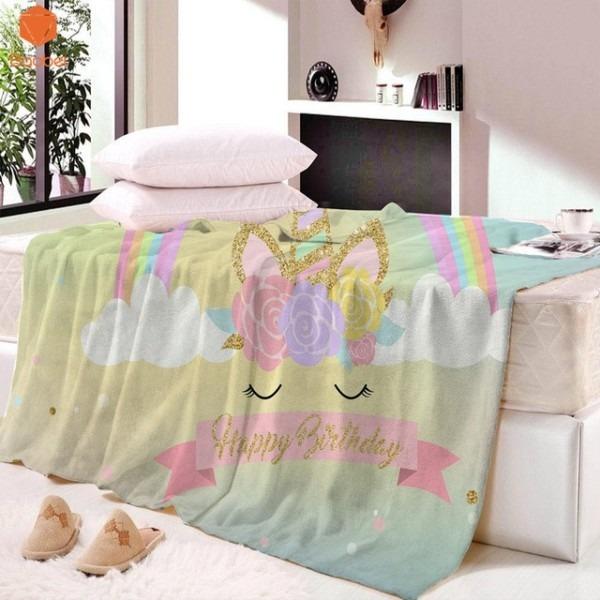 3d Unicorn Rainbow Happy Birthday Super Soft Blanket Velvet Plush