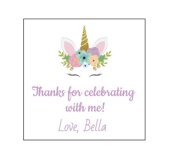 6 Square Unicorn Stickers, Thank You Labels, First Birthday