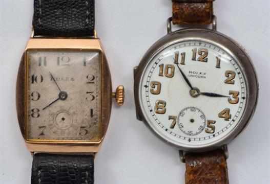 A Vintage 9ct Gold Rolex Unicorn Wrist Watch And A Silver Example (2)
