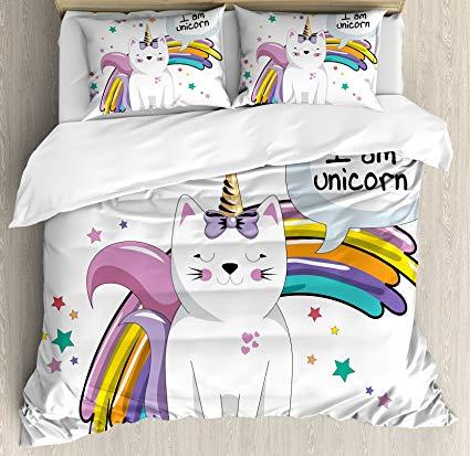 Amazon Com  Ambesonne Unicorn Cat Duvet Cover Set Queen Size
