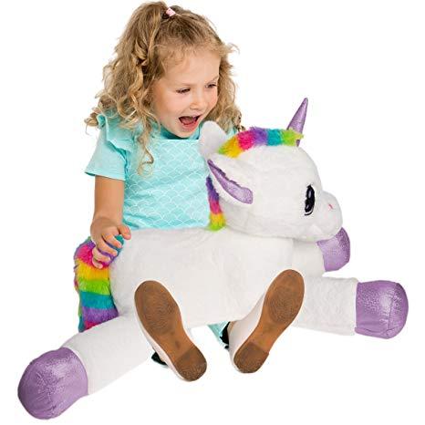 Amazon Com  Gitzy 25 Inch Large Rainbow Unicorn Stuffed Animal