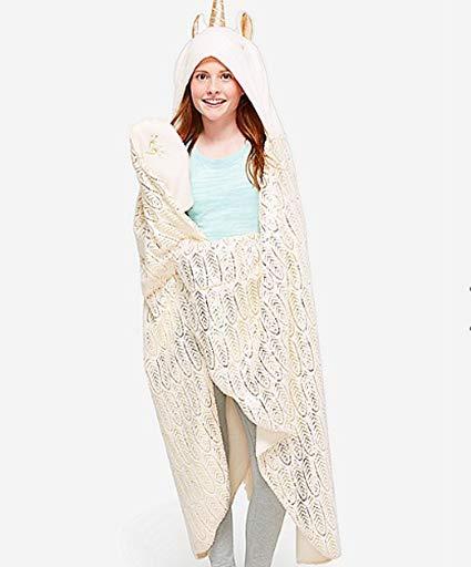 Amazon Com  Justice Girls Cream Unicorn Cozy Blanket Off White