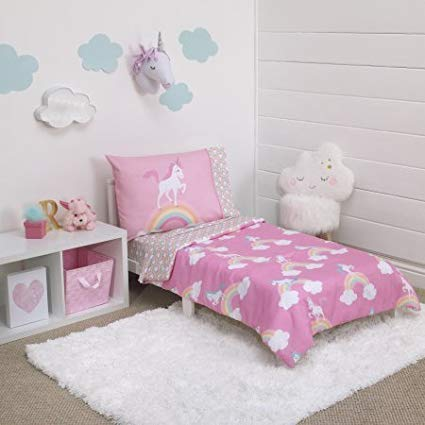 Amazon Com  L&m 4 Piece Kids Girls Pink Blue Unicorn Toddler Bed