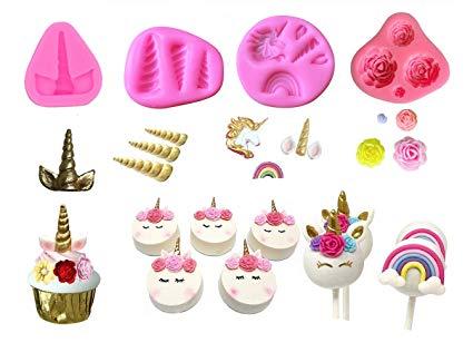 Amazon Com  Mini Unicorn Mold Unicorn Horn Ears Flower And Rainbow