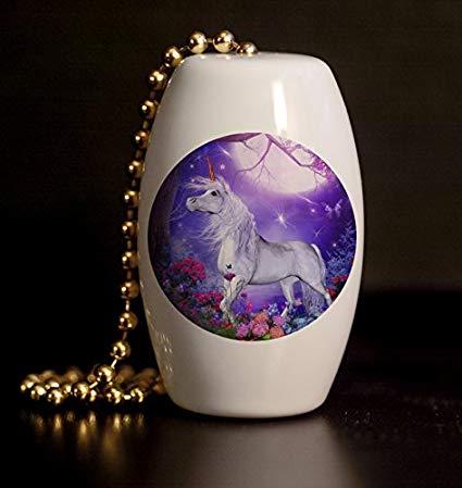 Amazon Com  Moonlit Unicorn Garden Porcelain Fan   Light Pull