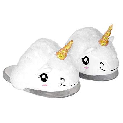 Amazon Com  Oliasports Plush Unicorn Slippers, One Size, White