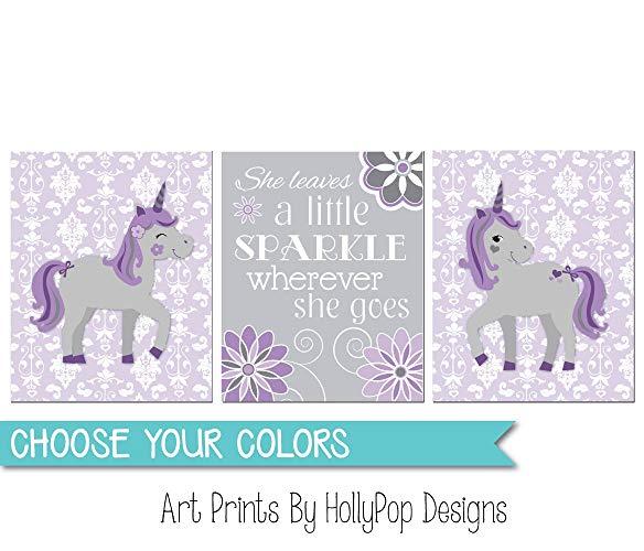 Amazon Com  Purple Gray Nursery Art, Baby Girl Nursery, Unicorn