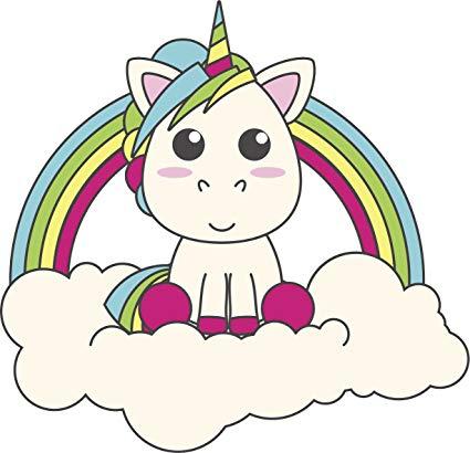 Amazon Com  Simple Cute Baby Unicorn In Rainbow Cloud Cartoon