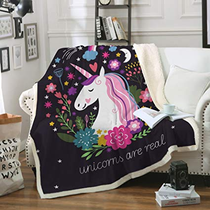 Amazon Com  Sleepwish Cute Unicorn Blanket Girls Cartoon Unicorn