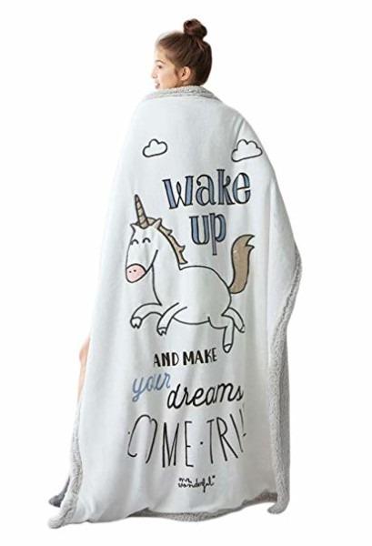 Amazon Com  Soft Unicorn Fuzzy Faux Fur Blanket Fluffy Plush