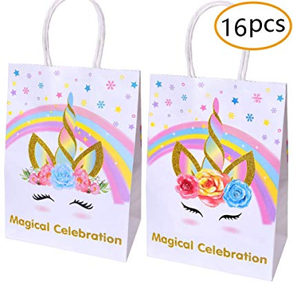 Amazon Com  Unicorn Paper Gift Bags For Unicorn Birthday Party