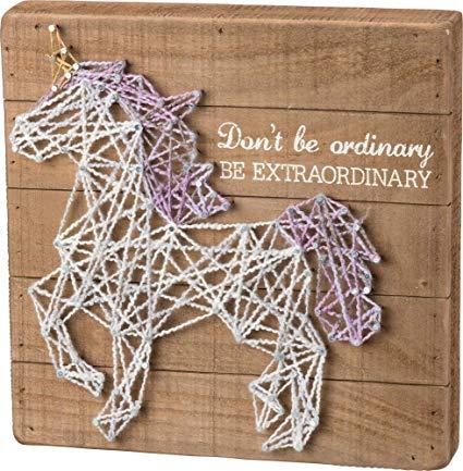 Amazon Com  Unicorn String Art Sign Be Extraordinary Primitives By