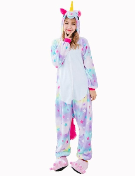 Animal Rainbow Unicorn Onesie Adult Unisex Halloween Costume
