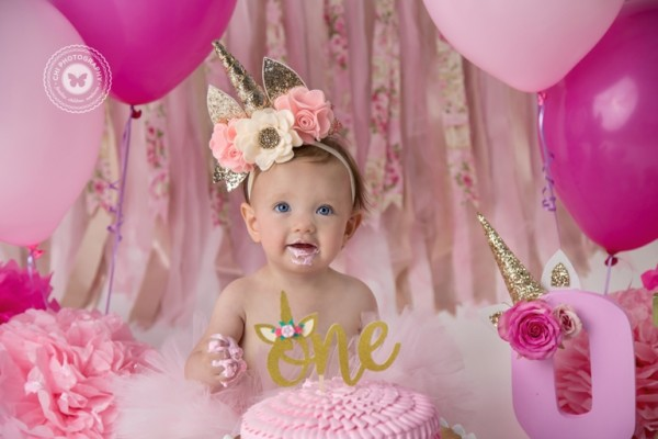 Aubrey {children ~ Studio} 1st Birthday, Unicorn Cake Smash