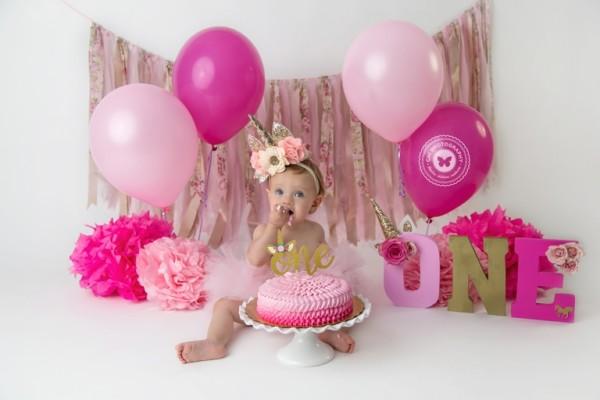 Aubrey {children ~ Studio} 1st Birthday, Unicorn Cake Smash
