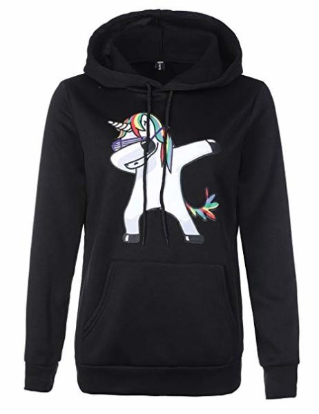 Bangerdei Women's Dabbing Unicorn Print Hoodie Long Sleeve