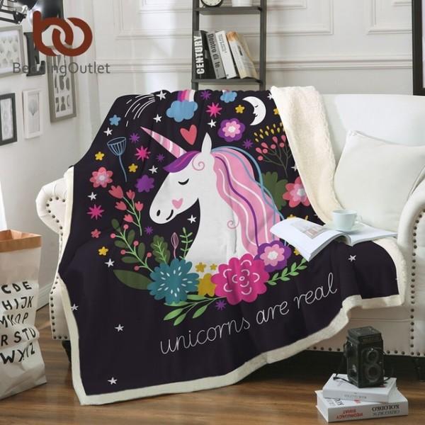 Beddingoutlet Cartoon Unicorn Velvet Plush Throw Blanket Floral