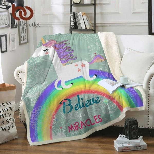 Beddingoutlet Unicorn Rainbow Blanket Believe Miracles Cartoon