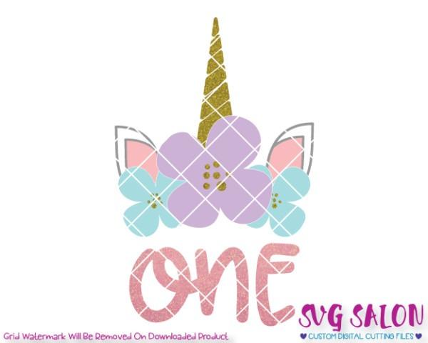 Birthday Unicorn One Svg Cut File Set For Girl's First Birthday Shirts