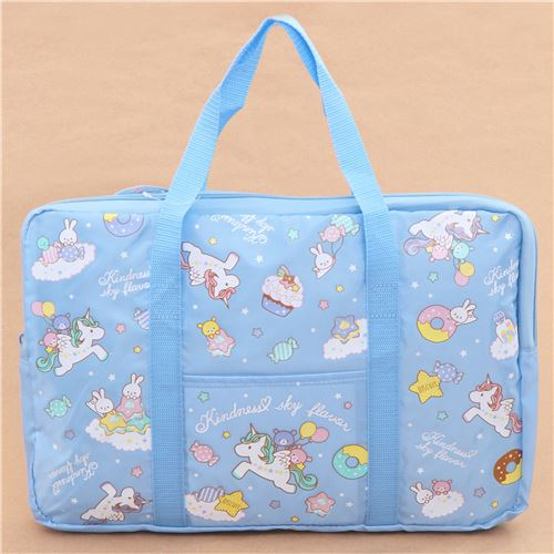 Blue Unicorn Rabbit Bear Sweet Treat Glitter Nylon Bag Laptop Bag