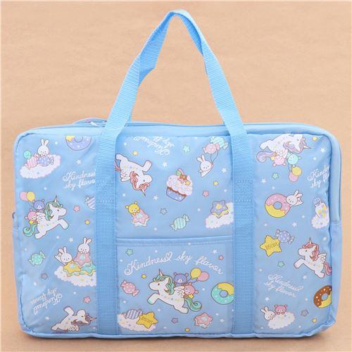 Blue Unicorn Rabbit Bear Sweet Treat Glitter Nylon Bag Laptop Bag