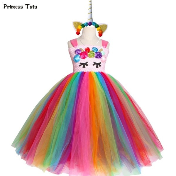 Bright Rainbow Unicorn Tutu Dress Princess Flower Girl Birthday