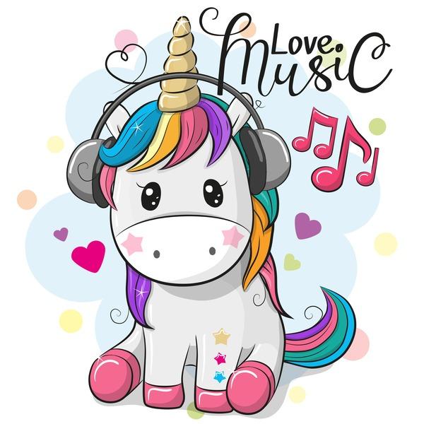 Cartoon Cute Unicorns Vectors Design 06 Free Download