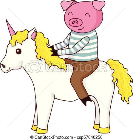 Cartoon Pig On Unicorn Isolated Vector Illustration