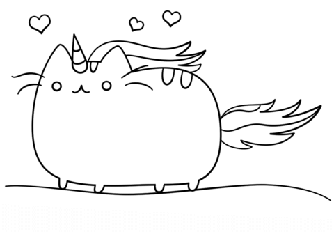 Cat Unicorn Coloring Pages Kawaii Cat Unicorn Coloring Page Free