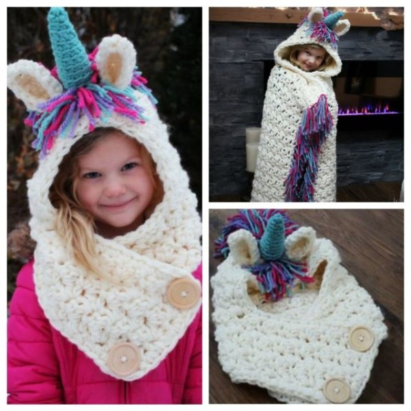 Children Kids Winter Unicorn Hat With Scarf Hooded Knitting Beanie