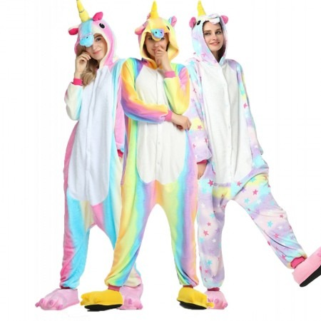 Colorful Unicorn Kigurumi Onesie Pajamas Animal Costumes For Women