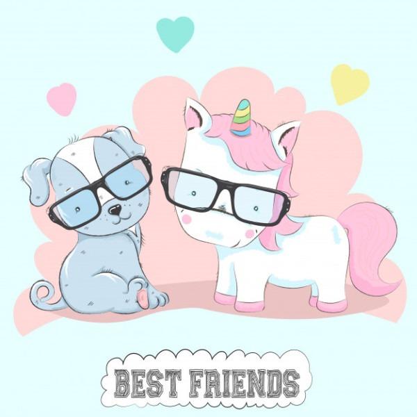 Cute Baby Unicorn And Dog Friends Cartoon Hand Drawn Vector