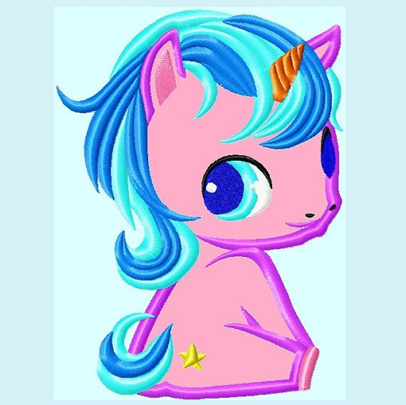 Cute Baby Unicorn Pony Applique Embroidery Design Instant Download