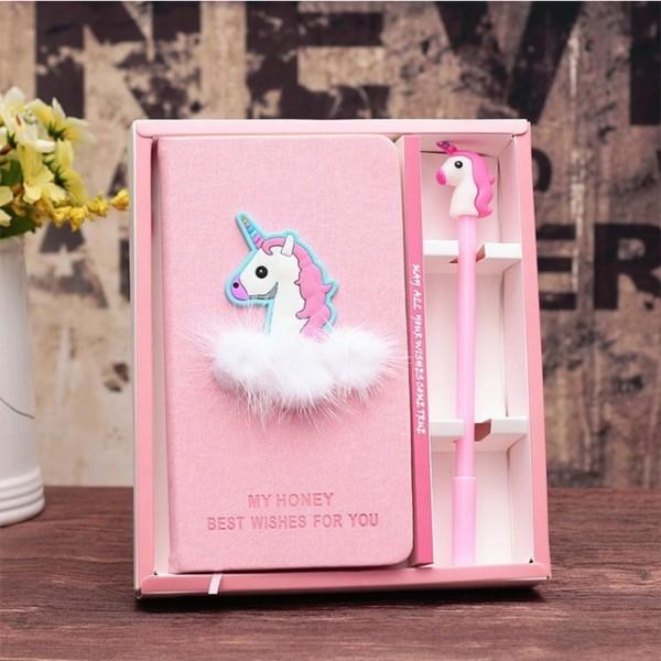 Cute Kawaii Unicorn Flamingo Notebook Gel Pen Set With Beautiful
