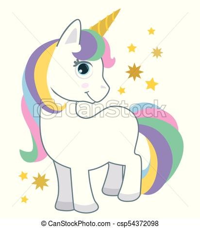 Cute Little Baby Unicorn With Rainbow Hair Isolated On White