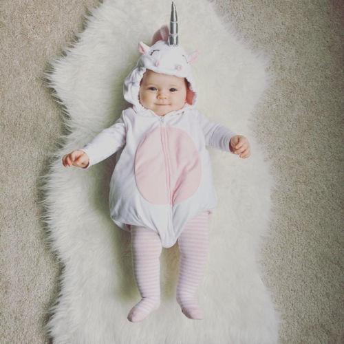 Cute Unicorn Baby Kids Girl Fleece Sleeveless Zipper Jumpsuit