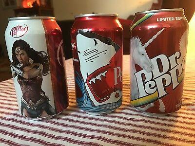 Dr Pepper Limited Edition Shark, Unicorn & Wonder Woman Unopened
