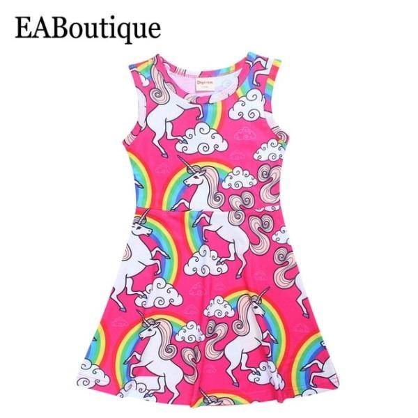 Eaboutique 2017 Summer New Fashion Cartoon Girls Unicorn Dresses