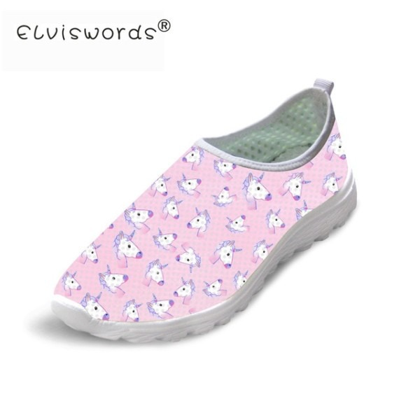 Elviswords Unicorn Shoes Women Pink Cute Air Mesh Casual Shoes For