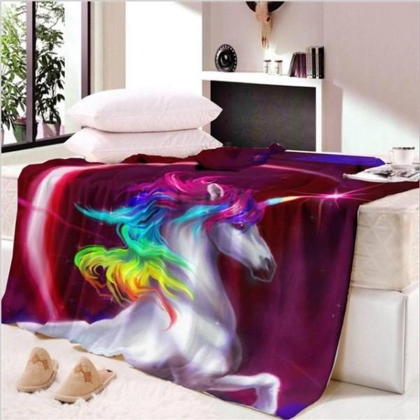 Fanaijia Double Layer Thick 3d Unicorn Blanket Flag Pattern Sherpa