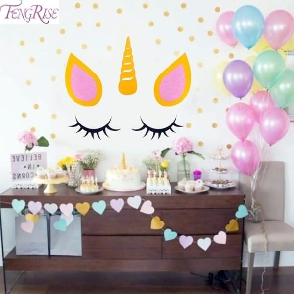 Fengrise Sleepy Unicorn Eyelash Stickers Unicorn Birthday Party