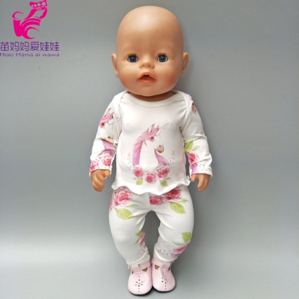 Fits For 43cm New Born Baby Dolls Clothes Unicorn Pajamas Doll