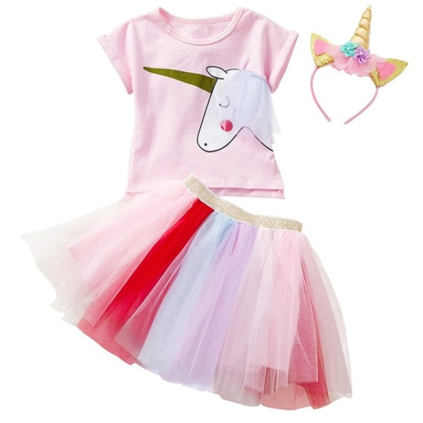 Flower Girls Unicorn Tutu Dress Rainbow Princess Girl Birthday